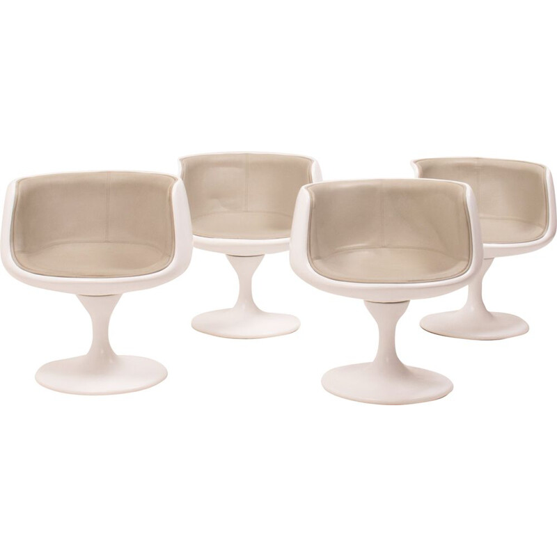 Set of 4 vintage Swivel Tulip Tub Chairs