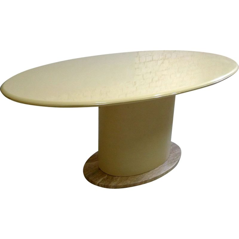 Vintage oval dining table in lacquer and travertine 1980