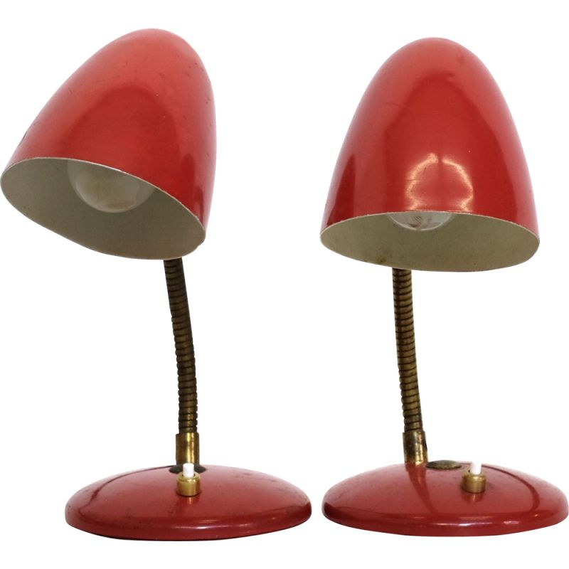 Pair of vintage red table lamps 1960