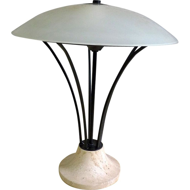 Vintage table lamp in glass metal & travertine 1980
