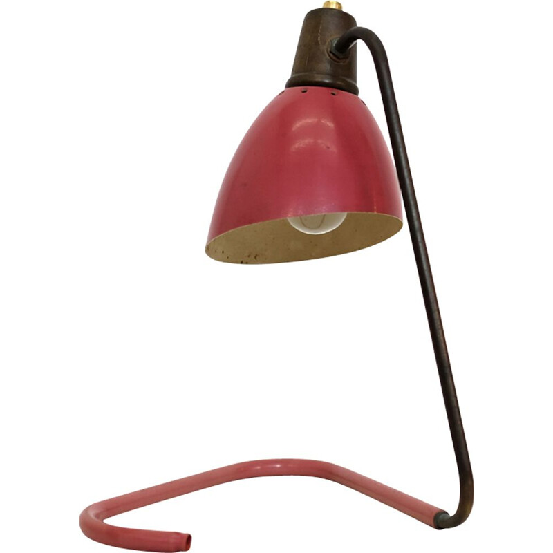 Vintage red and gold lamp by Robert Caillat 1950