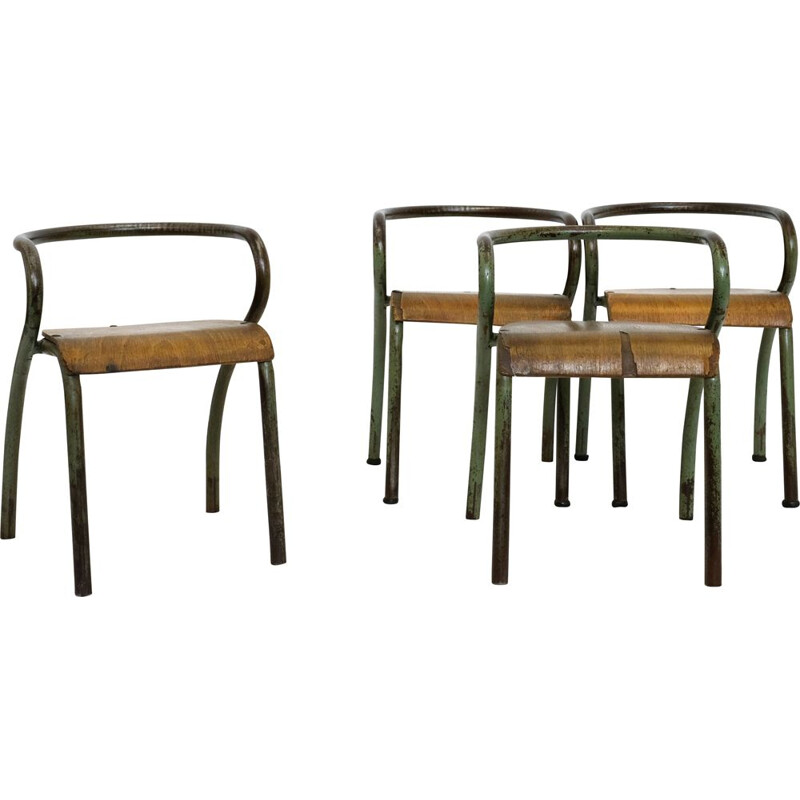 Set of 4 vintage children chairs by Jacques Hitler for Mobilor