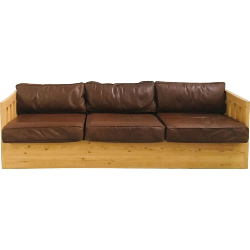 Vintage sofa in wood and leather 1960