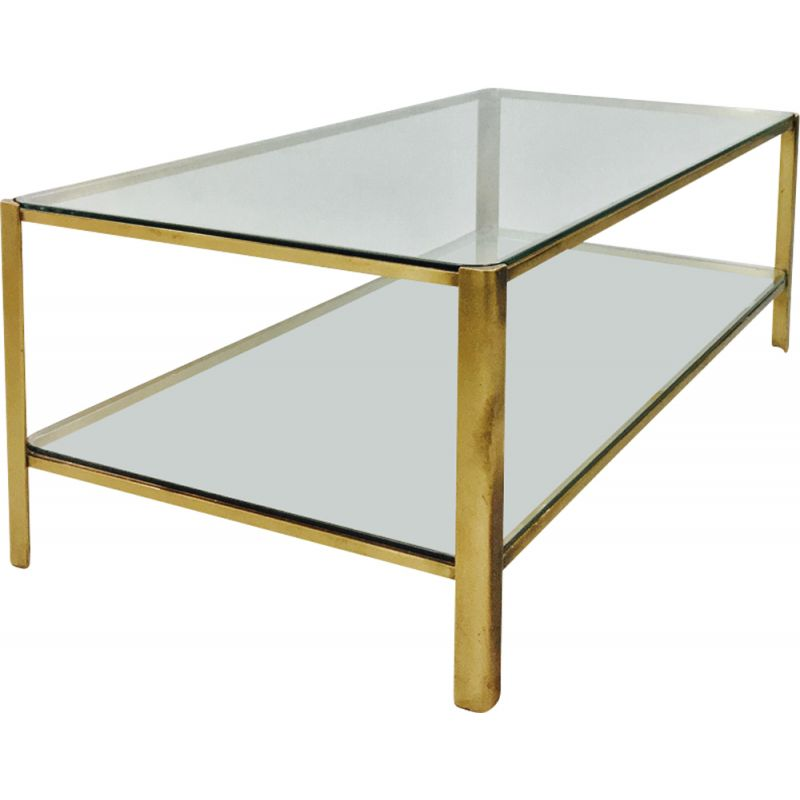 Vintage coffee table in bronze and glass for Malabert