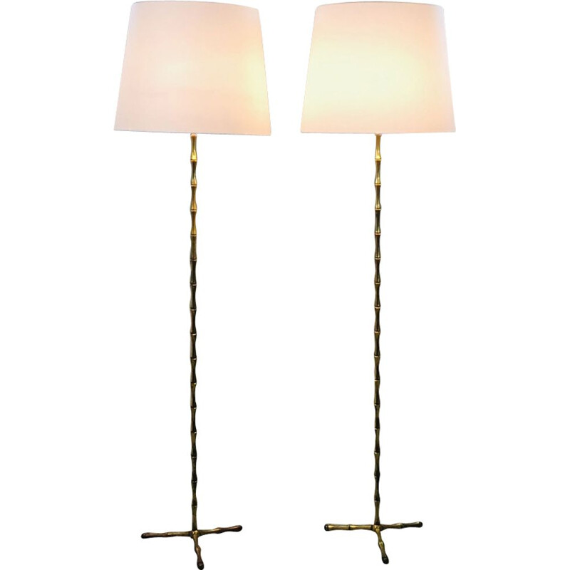 Pair of vintage bamboo lampposts gilt bronze