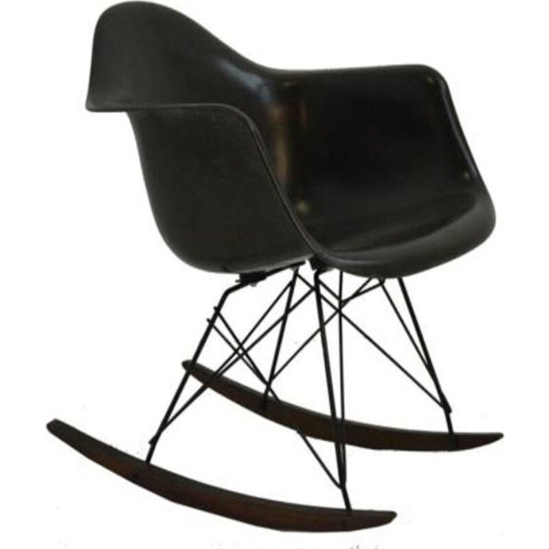 Vintage brown RAR rocking chair by Ray & Charles Eames for Herman Miller
