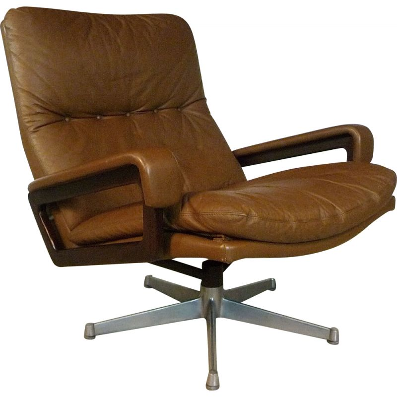 Vintage lounge chair Swiss King leather by André Vandenbeuck for Strässle, 1960s