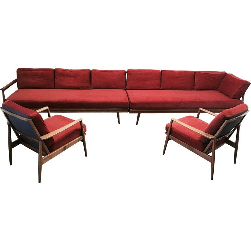 Vintage living room set modular 2 sofas and 2 armchairs 1950s