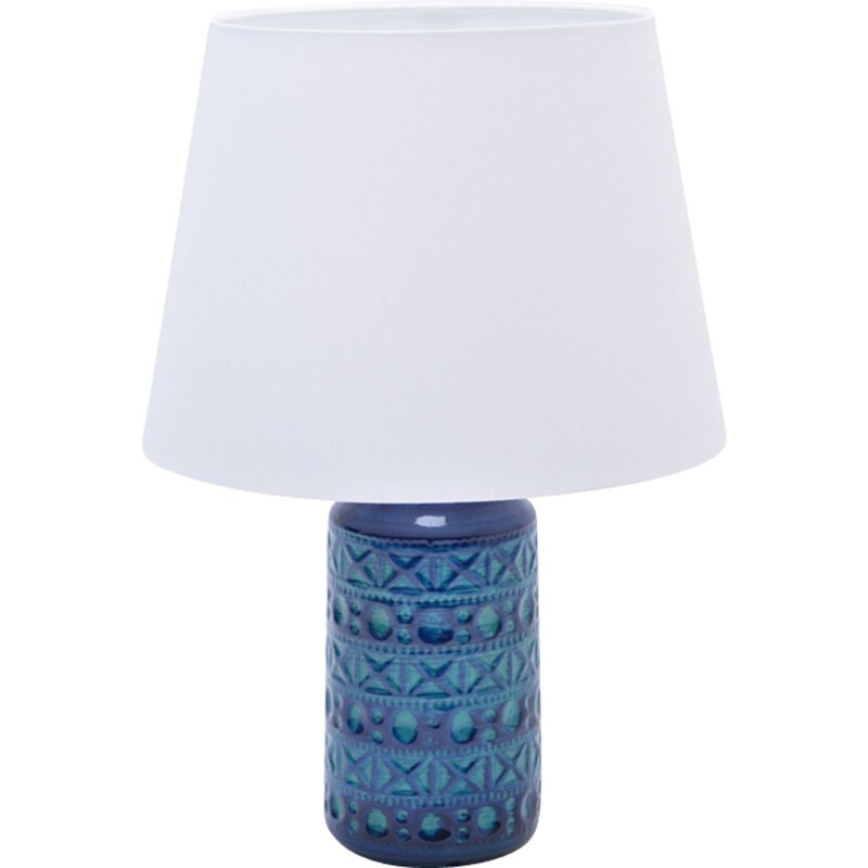 Vintage table lamp No.57-25 Blue & Green Ceramic by Lyskær Belysning, Danish 1960s