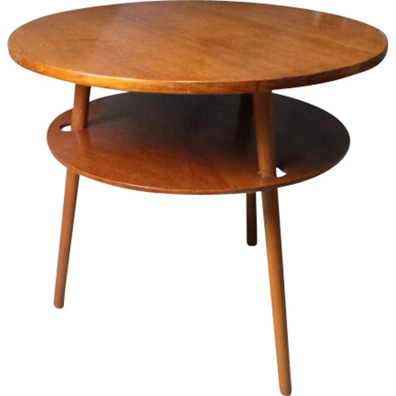 Vintage side table in beech and oak round 1960s