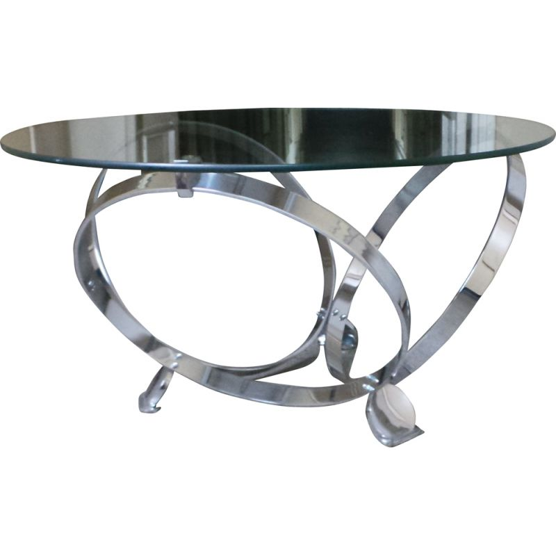 Vintage coffee table in chromed steel and glass by Knut Hesterberg Germany 1970