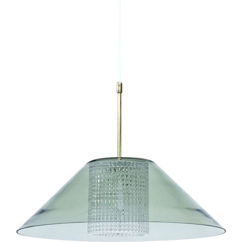 Vintage Swedish brass & glass pendant lamp by Carl Fagerlund for Orrefors