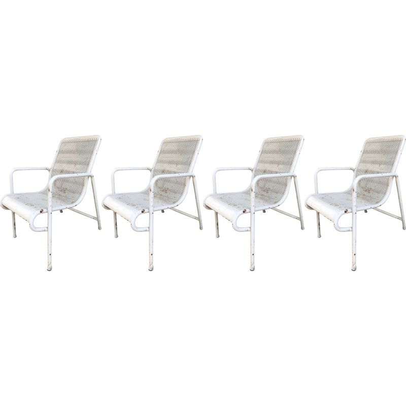 Set of 4 vintage white metal chairs 1940