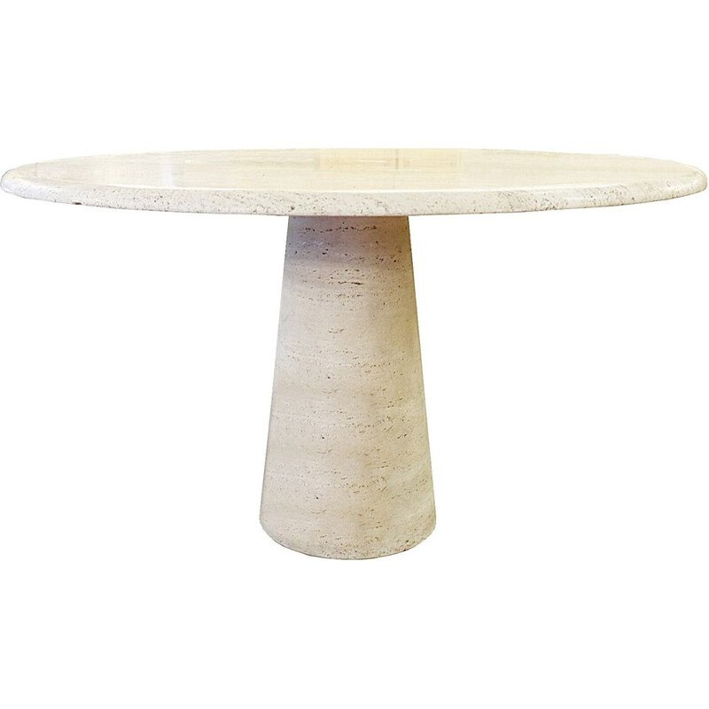 Vintage travertine circular dining table
