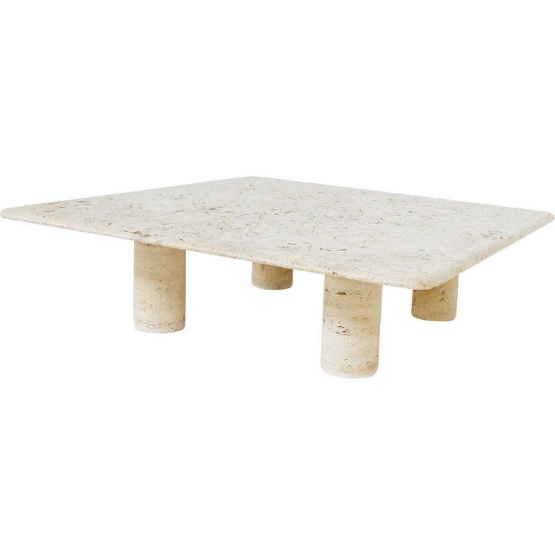 Vintage large travertine coffee table by Angelo Mangiarotti For Up&Up