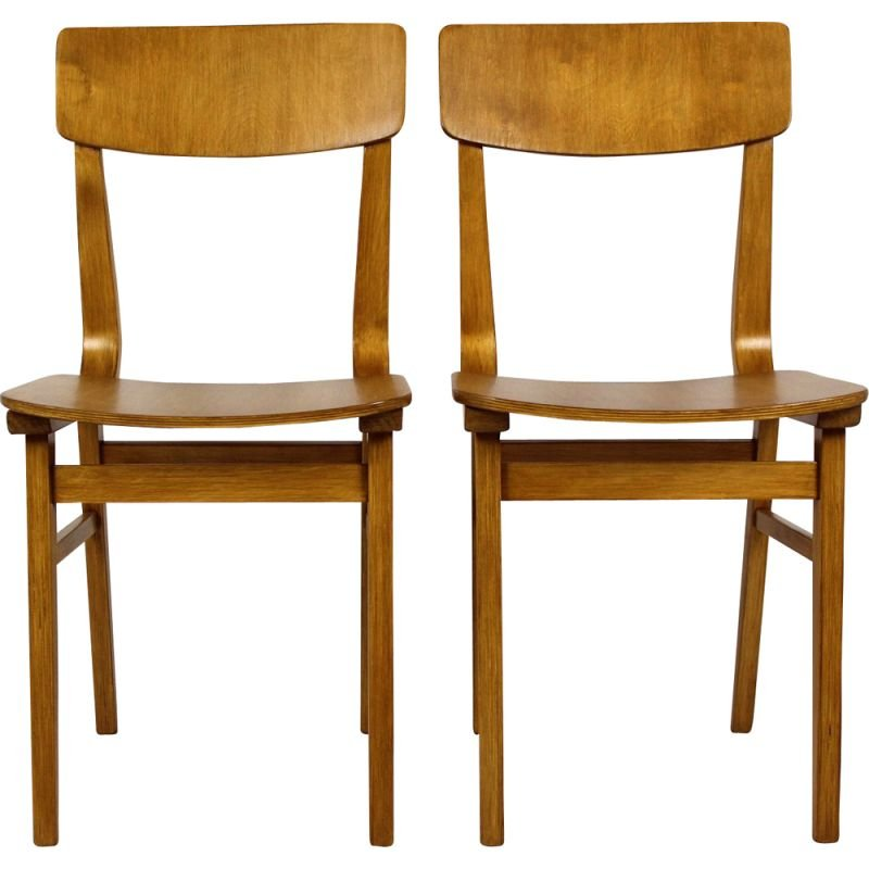 Set of 2 vintage plywood chairs from Riga made in USSR