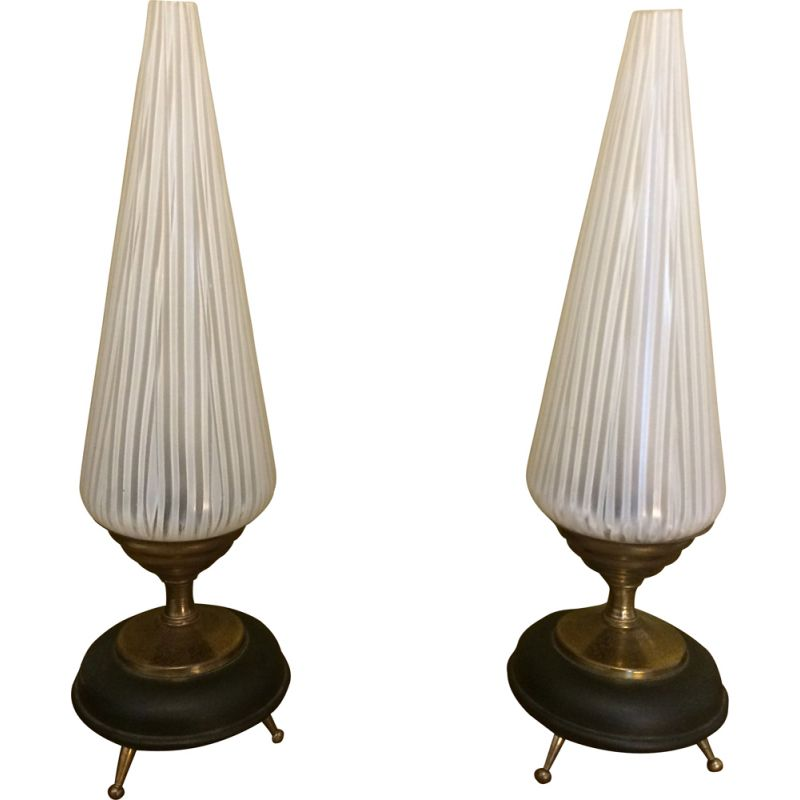 Pair of vintage brass and black metal tripods lamps 1960