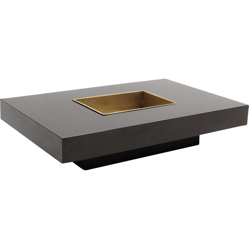 Vintage coffee table by Willy Rizzo in laminated and brass 1970
