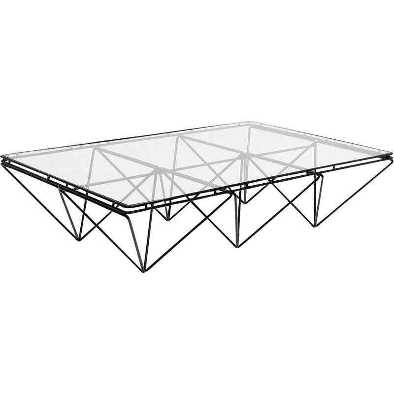 Vintage italian geometric coffee table in glass and black metal 1970