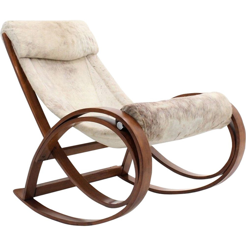 Vintage Sgarsul rocking chair for Poltronova  in leather and curved wood 1960
