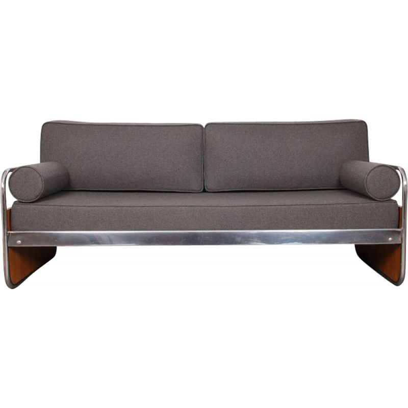 Vintage sofa tubular metal Czech Republic 1930