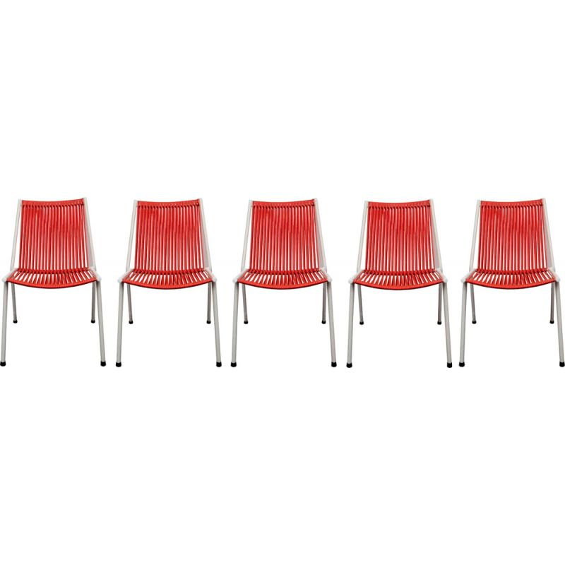 Set of 5 vintage chairs Scoubidou red 1950s