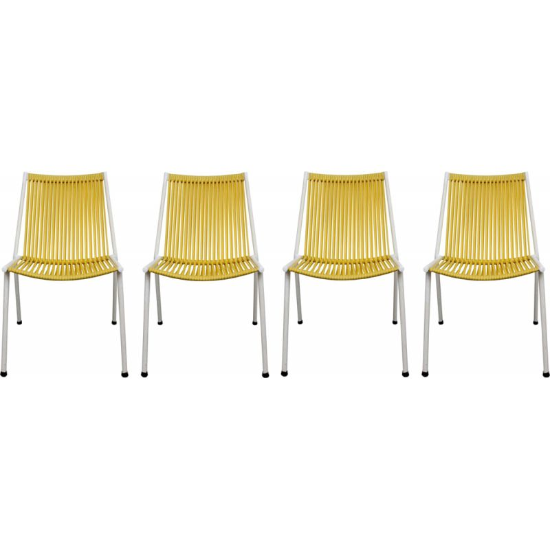 Set of 4 vintage chairs Scoubidou yellow 1950s