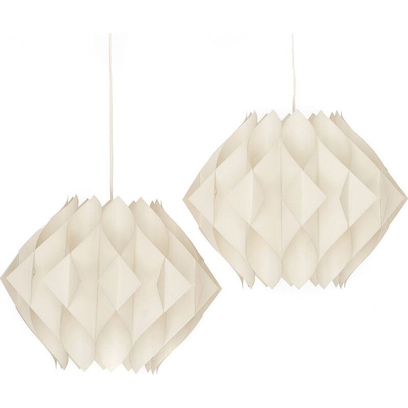 "Pair of vintage acrylic pendant lights ""Butterfly"" by Lars Shiøler for Hoyrup lighting. Denmark 1960"