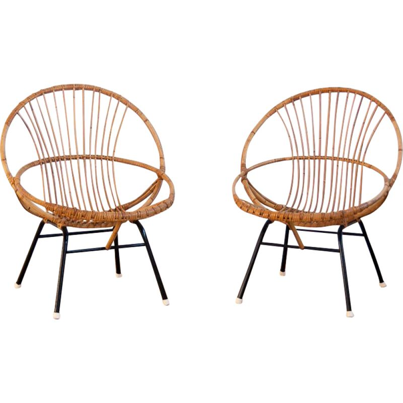 Pair of vintage shell chairs in rattan and black metal 1960