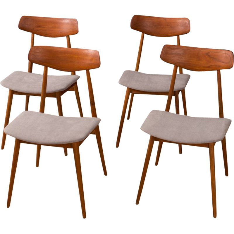Set of 4 vintage dining chairs by habeo from the 50s