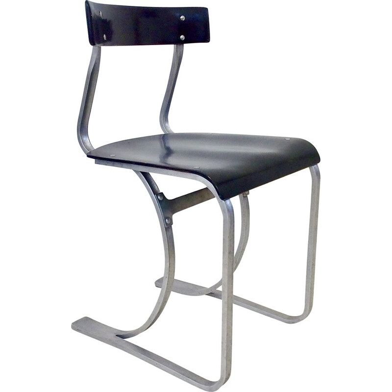 Vintage chair model WB 301 in curved aluminum and wood 1930