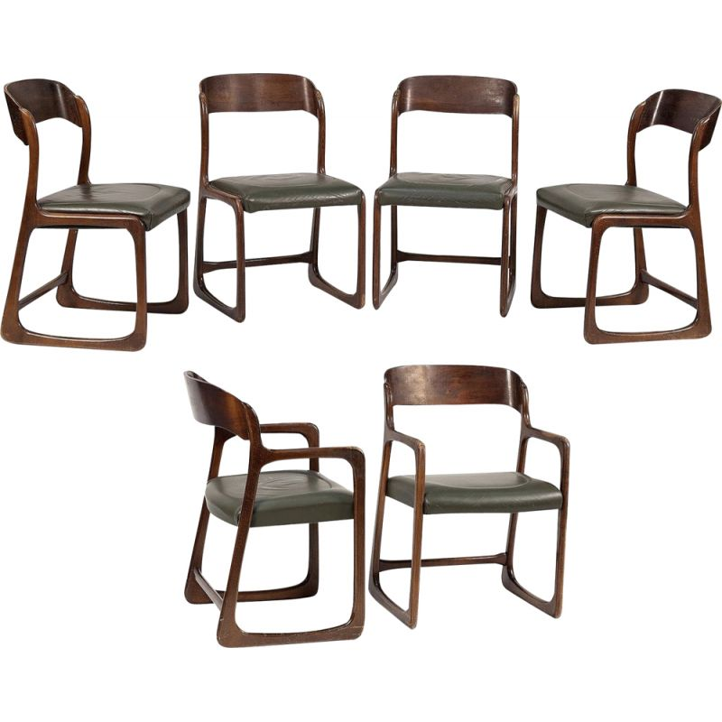 Set of 4 vintage chairs and 2 Baumann model sled armchairs in leather 1960