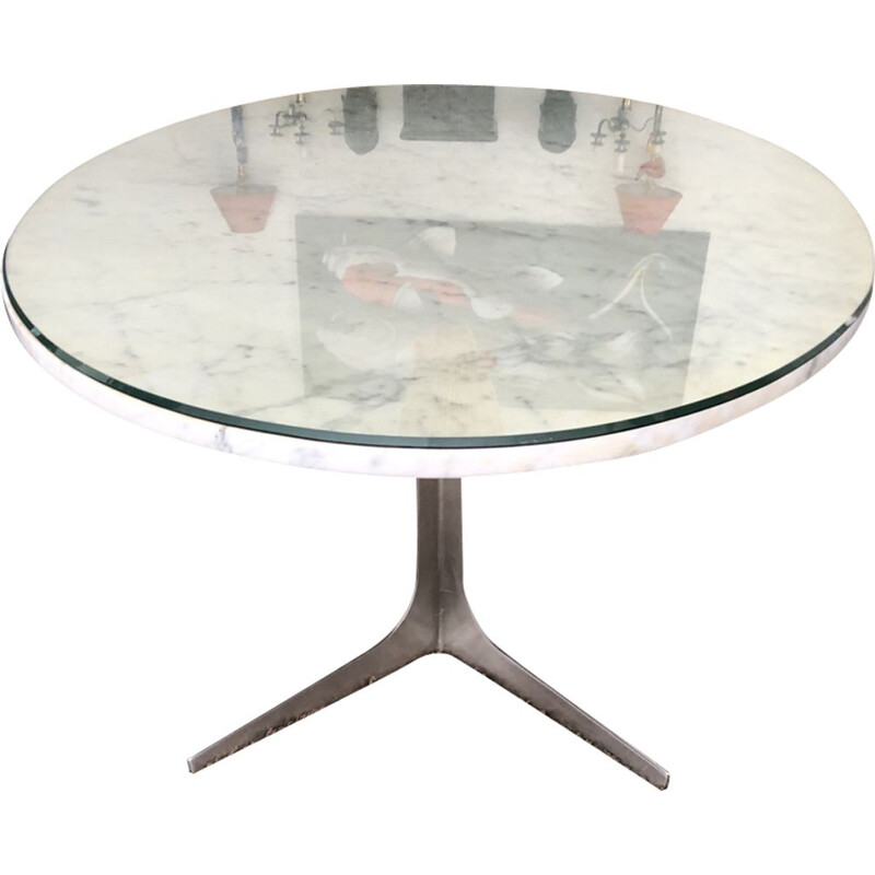 Vintage table for Holzapfel in Carrara marble and aluminium 1950