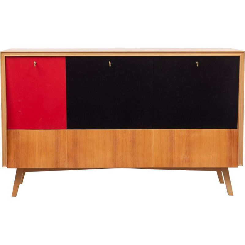 Vintage bar cabinet with integrated lighting in walnut and red formica 1950