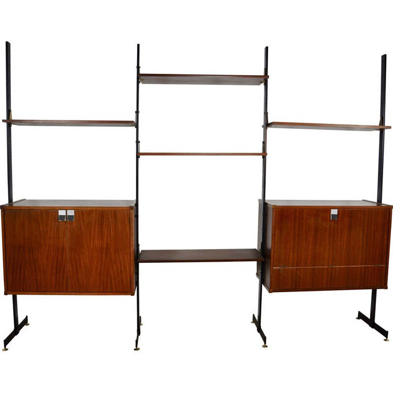 Vintage italian wall unit by DAL Vera in teak and metal 1970s