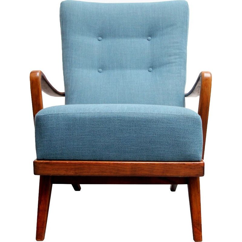 Vintage german armchair in blue fabric and walnut 1950