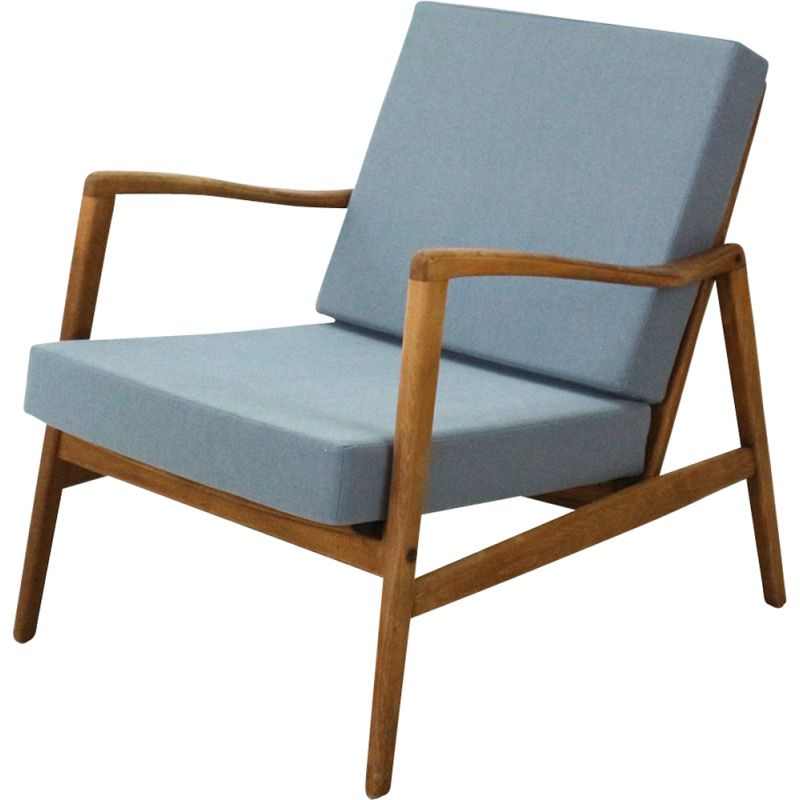 Vintage german armchair in blue fabric beechwood and walnut 1960