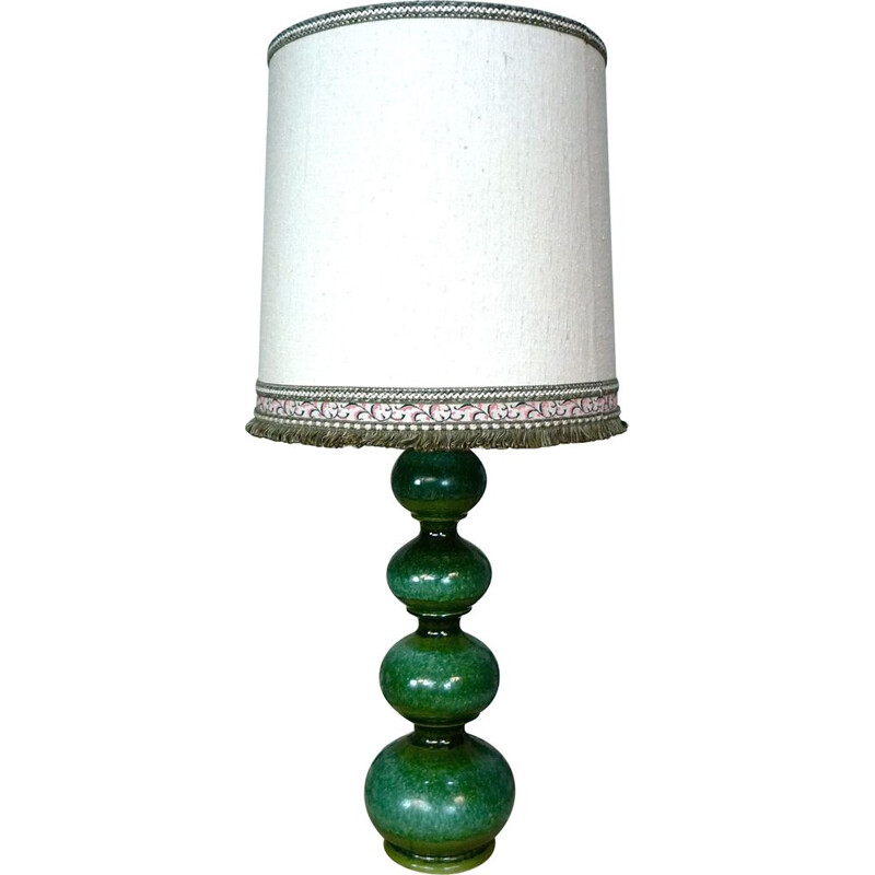 Vintage german lamp for Kaiser-Leuchten in green ceramic and white fabric 1960