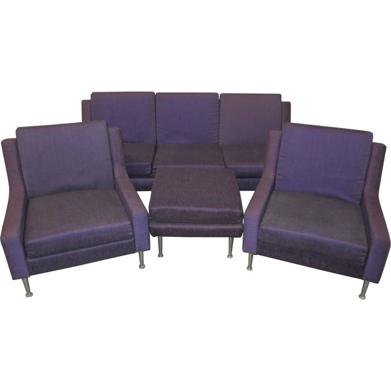 Vintage Relaxair lounge set for Airborne in purple fabric and metal 1950