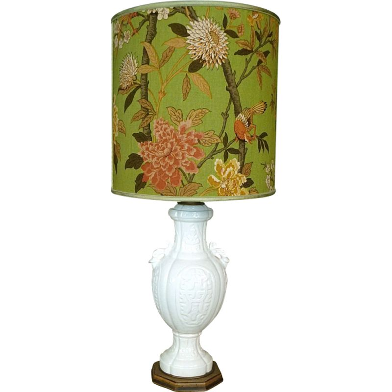 Vintage italian table lamp by Cenacchi in ceramic and fabric 1960