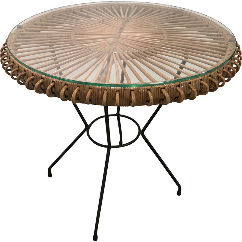 Vintage table in rattan by Janine Abraham 1950