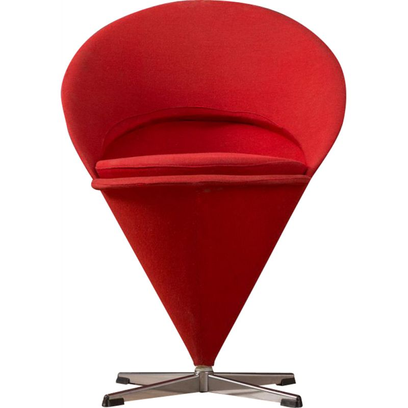 "Vintage ""Cone"" chair in red by Verner Panton from the 50s"