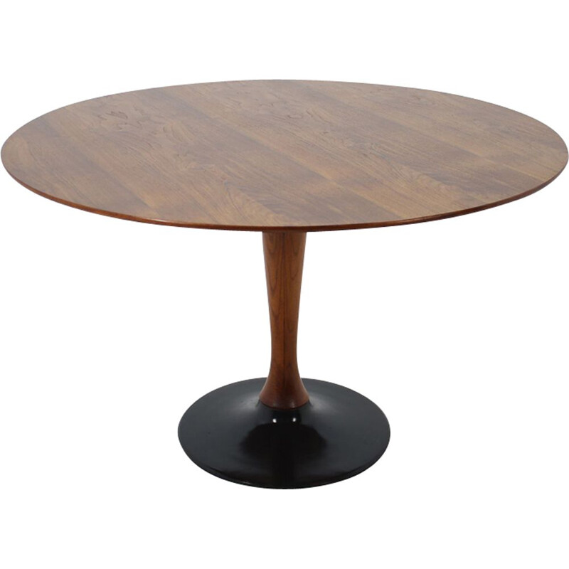 Vintage round teak dining table from the 70s