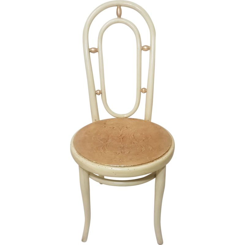 Vintage dining chair in beige by Thonet,1930