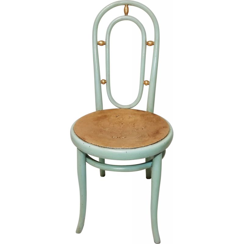 Vintage dining chair in blue by Thonet 1930