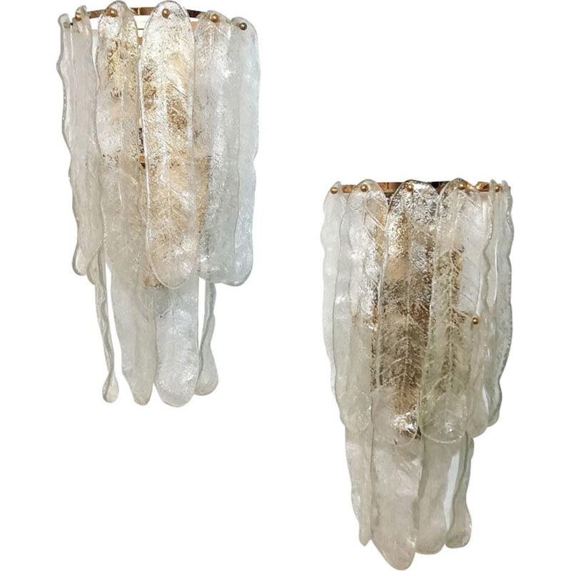 Pair of vintage Mazzega wall lights in Murano glass, 1970