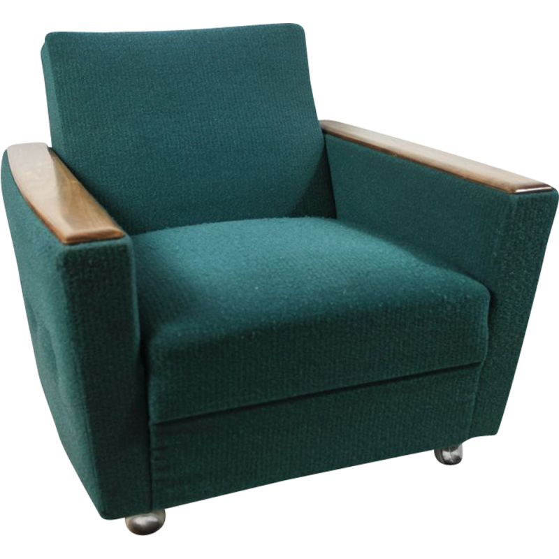 Vintage armchair blue curly wool fabric 1960