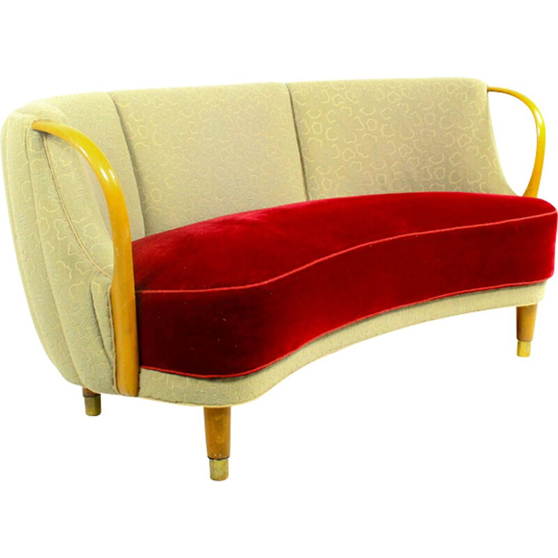Vintage sofa model No. 96 by N.A. Jørgensen in wood and grey fabric 1950