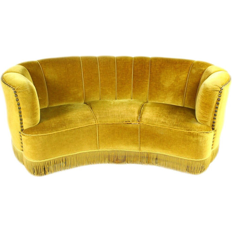 Vintage danish Banana Sofa in yellow velvet and wood 1940