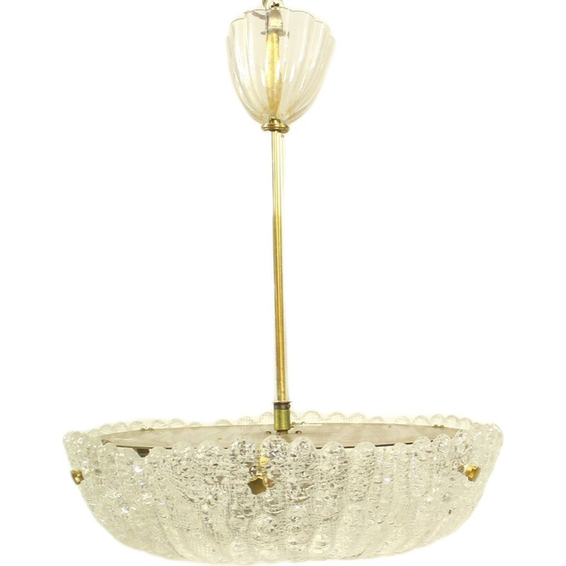 Vintage chandelier for Orrefors in white crystal and brass 1960